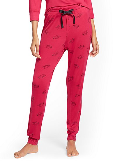 """But First, Coffee"" Pajama Jogger Pant - New York & Company"