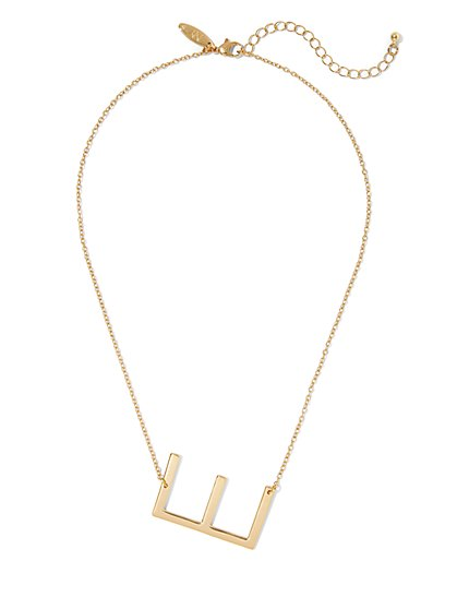 """E"" Initial Pendant Necklace - New York & Company"