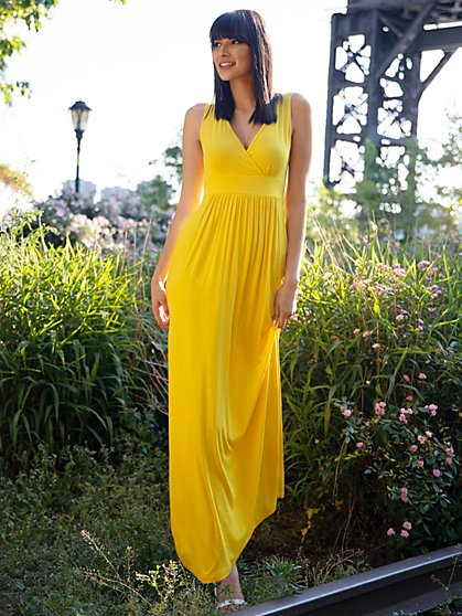 """Goddess"" Wrap-Front Maxi Dress - New York & Company"