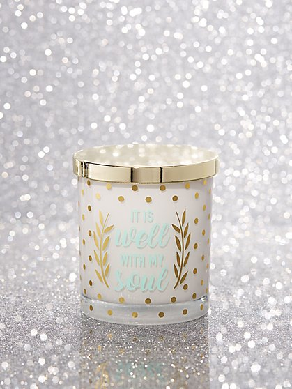 """It Is Well with My Soul"" Dot-Print Candle - New York & Company"