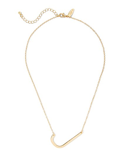 """J"" Initial Pendant Necklace - New York & Company"