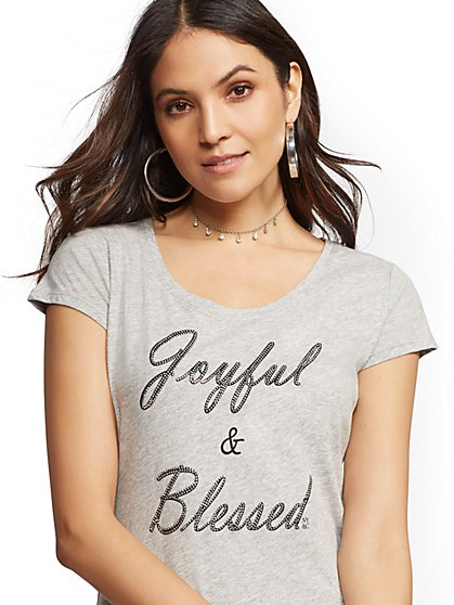 """Joyful & Blessed"" Graphic Logo Tee - New York & Company"