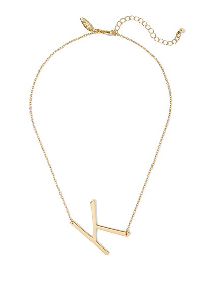 """K"" Initial Pendant Necklace - New York & Company"