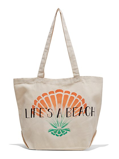 """Life's a Beach"" Canvas Tote Bag - New York & Company"