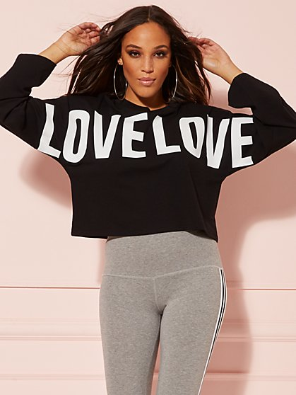 """Love"" Crop Sweatshirt - Soho Street - New York & Company"
