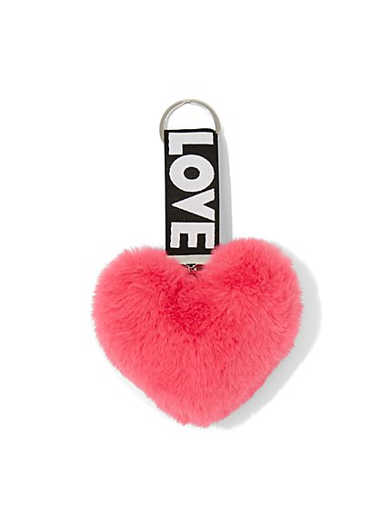 """Love"" Faux-Fur Heart Keychain - New York & Company"