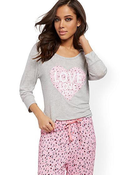 """Love"" & Heart-Print Pajama Top - New York & Company"