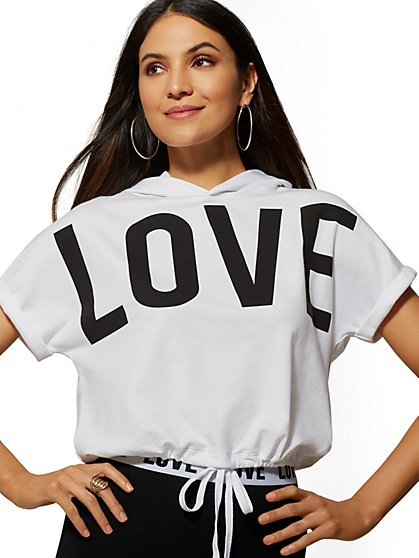 """Love"" Hooded Sweatshirt - Soho Street - New York & Company"