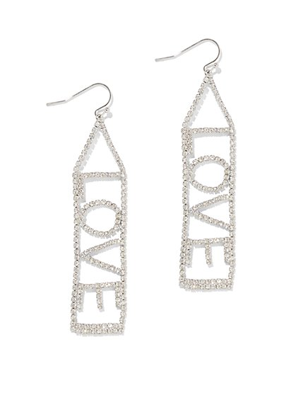 """Love"" Linear Drop Earring - New York & Company"