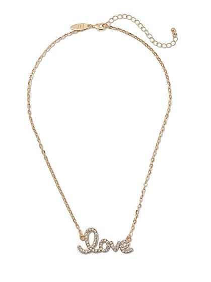 """Love"" Nameplate Necklace - New York & Company"