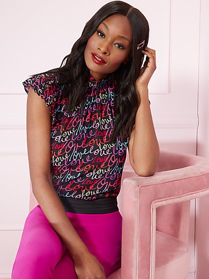 """Love""- Print Pleated Cap-Sleeve Blouse - 7th Avenue - New York & Company"