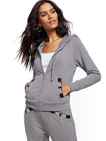 """Love""-Trim Hooded Zip-Front Sweatshirt - New York & Company"