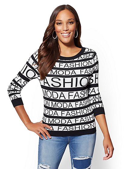 """Moda Fashion"" Black & White Sweater - New York & Company"