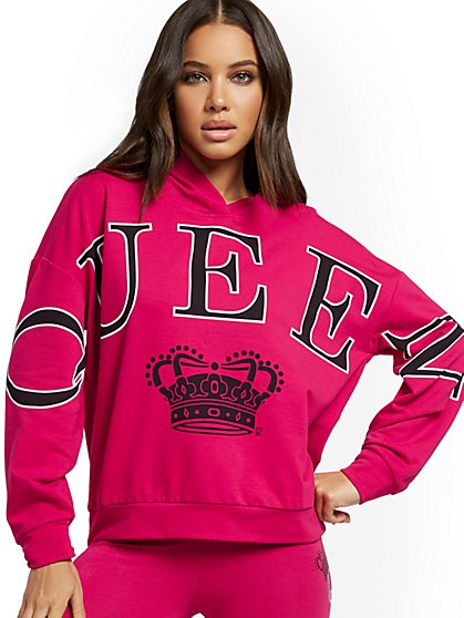 """Queen"" Hooded Sweatshirt - Soho Street - New York & Company"