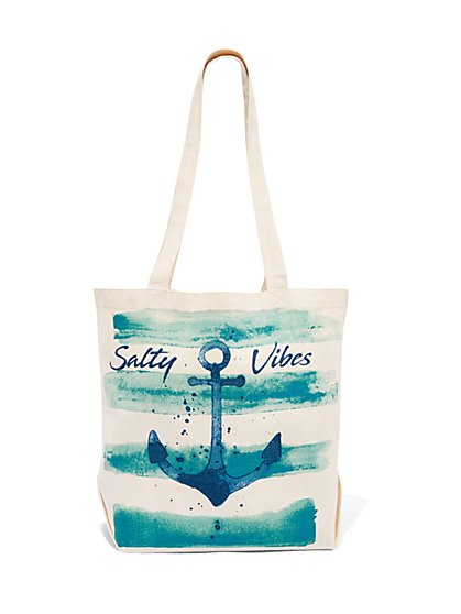 """Salty Vibes"" Canvas Tote Bag - New York & Company"