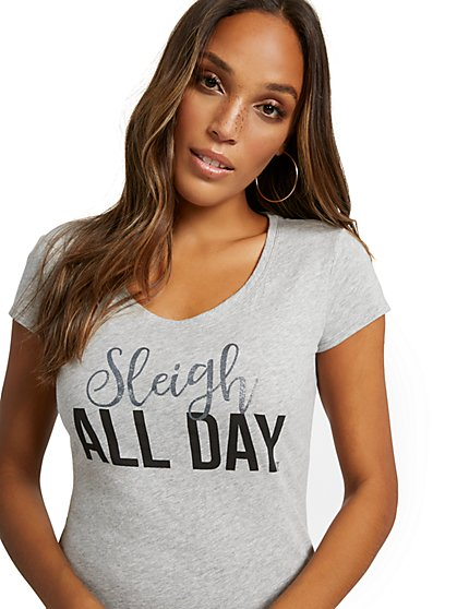 """Sleigh All Day"" Graphic Tee - New York & Company"