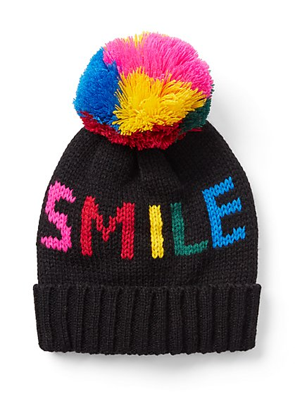 """Smile"" Pom-Pom Hat - New York & Company"