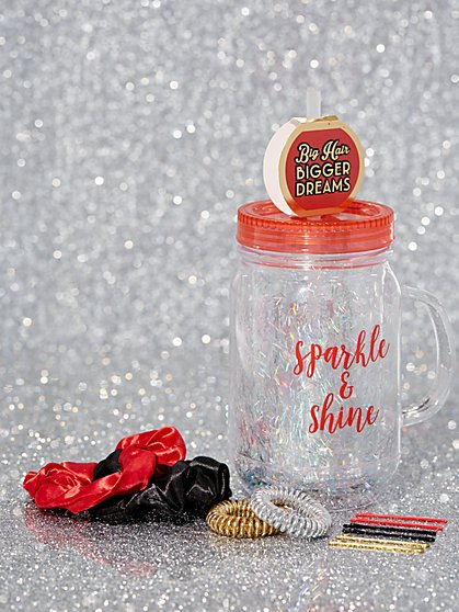 """Sparkle & Shine"" Mug & Hair Accessories Gift Set - New York & Company"