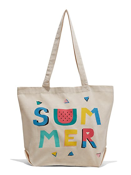 "cfeb9fa4c0566 ""Summer"" Canvas Tote Bag - New York & Company "" ..."
