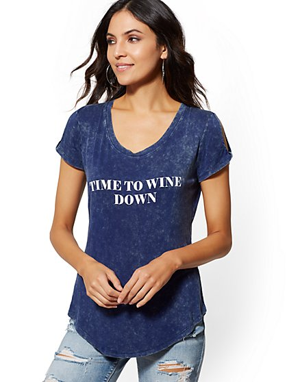 """Time to Wine Down"" Cold-Shoulder Graphic Tee - New York & Company"