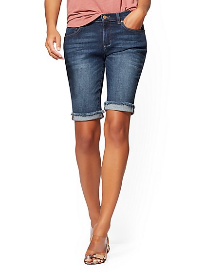 11 Inch Boyfriend Bermuda Short - Blueberry- Soho Jeans - New York & Company