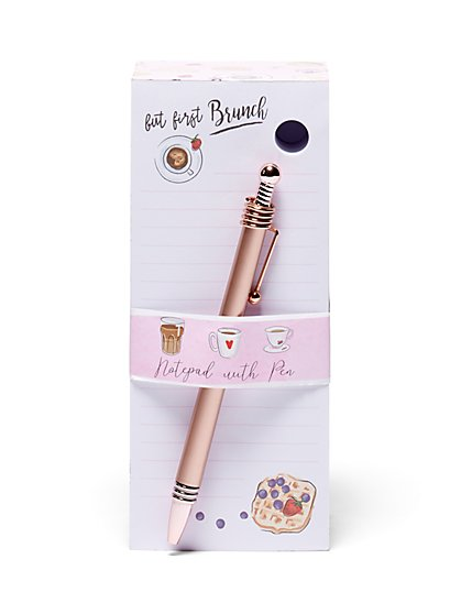 2-Piece Brunch-Themed Notepad & Pen Set - New York & Company
