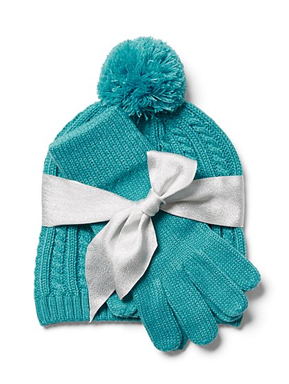 2-Piece Cable-Knit Hat & Glove Set - New York & Company