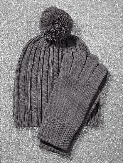 2-Piece Cable-Knit Hat & Gloves Gift Set - New York & Company
