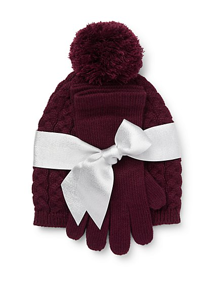 2-Piece Cable Knit Hat & Gloves Set - New York & Company