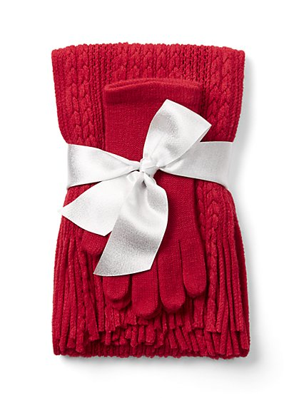 2-Piece Cable-Knit Scarf & Glove Set - New York & Company