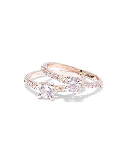 2-Piece Cubic Zirconia Rose Goldtone Ring Set - New York & Company