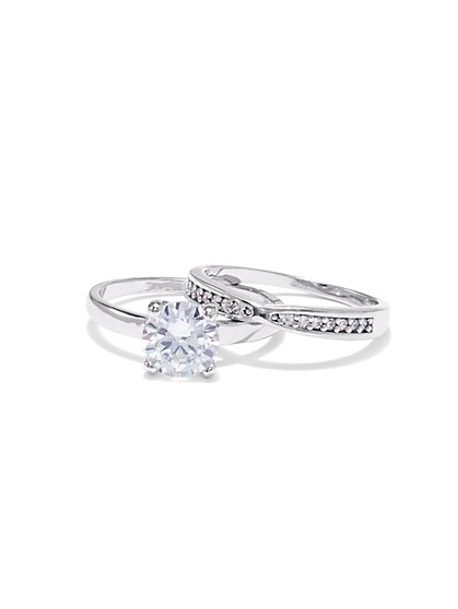 2-Piece Cubic Zirconia Silvertone Ring Set - New York & Company