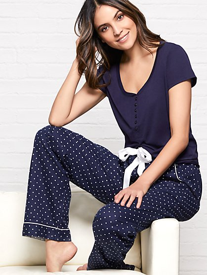 2-Piece Dot-Print Pajama Set - New York & Company