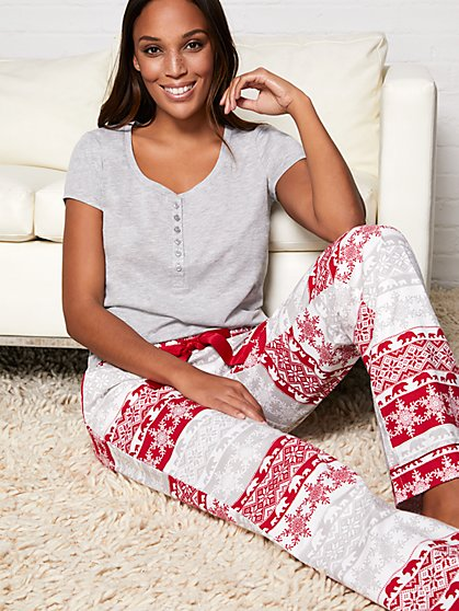 2-Piece Fair Isle Pajama Set - New York & Company