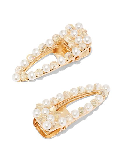 2-Piece Faux-Pearl Barrette Set - New York & Company