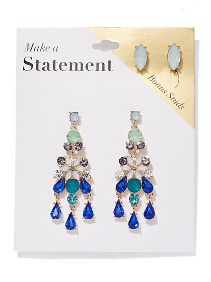 2 Piece Goldtone Post Statement Drop Earring Set New York Company