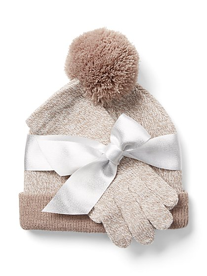 2-Piece Marled Hat & Glove Set - New York & Company