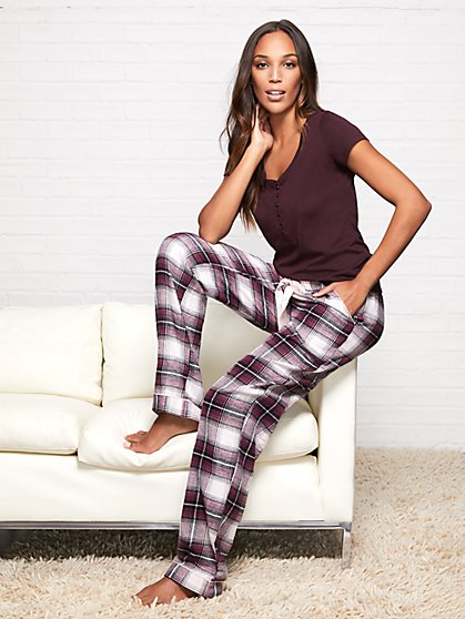 2-Piece Maroon Plaid Pajama Set - New York & Company