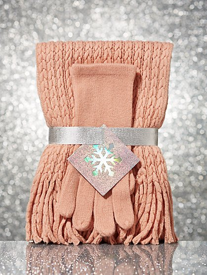 2-Piece Metallic Cable-Knit Scarf & Glove Gift Set - New York & Company