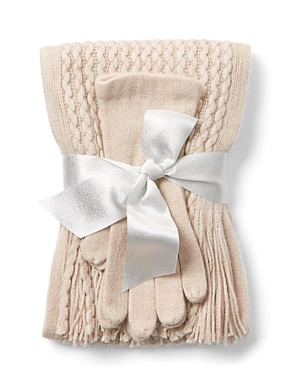 2-Piece Metallic Cable-Knit Scarf & Glove Set - New York & Company