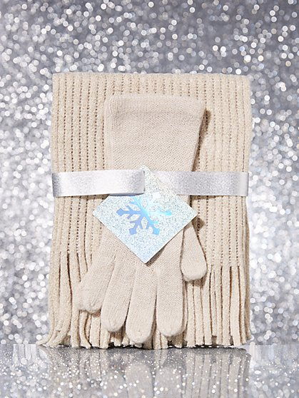 2-Piece Metallic Ribbed-Knit Scarf & Gloves Set - New York & Company