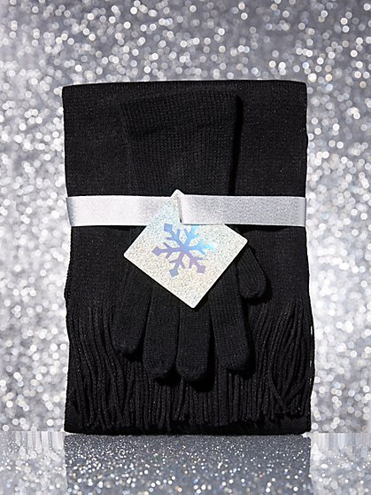 2-Piece Metallic Scarf & Gloves Gift Set - New York & Company