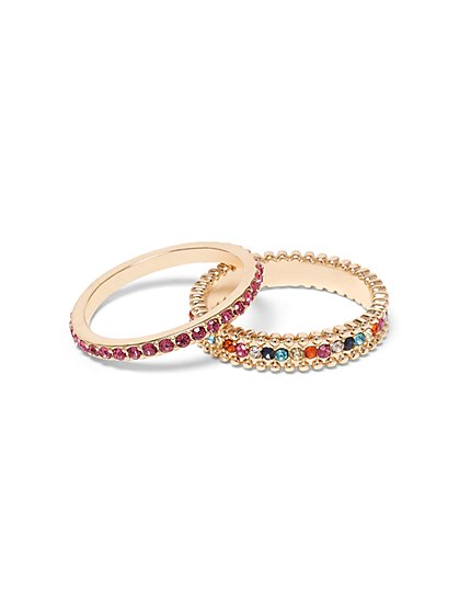 2-Piece Multicolor Faux-Stone Ring Set - New York & Company