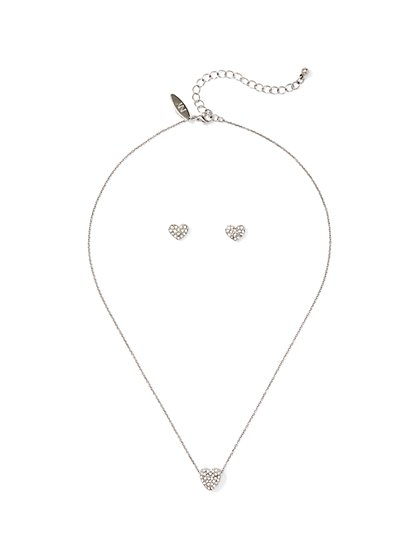 2-Piece Pave Heart Earrings & Necklace Set - New York & Company