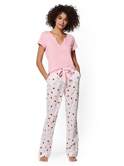 2-Piece Pink Candy Heart-Print Sleepwear Set - New York & Company