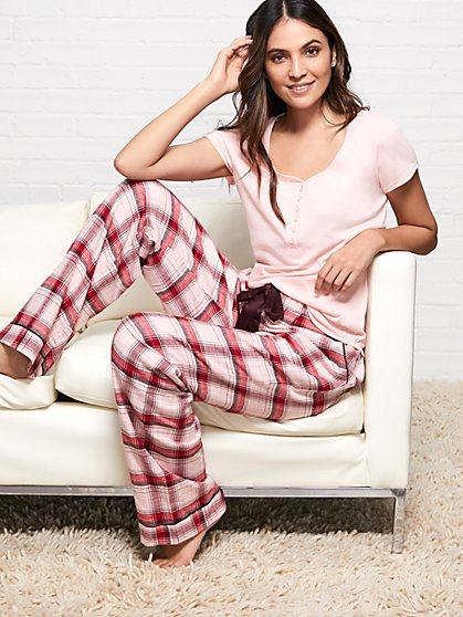 2-Piece Pink Plaid Pajama Set - New York & Company