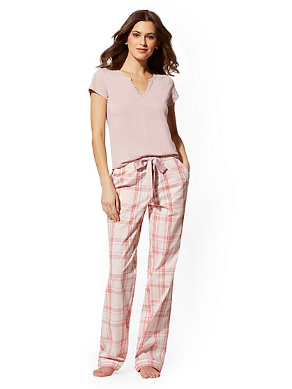 2-Piece Pink Plaid Sleepwear Set - New York & Company