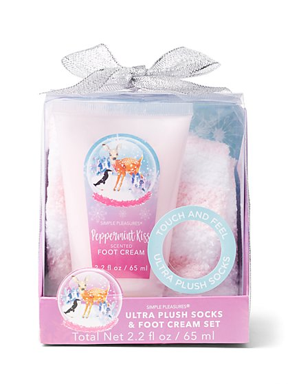 2-Piece Plush Socks & Scented Foot Cream Set - New York & Company