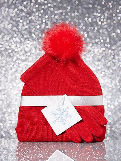 2-Piece Pom-Pom Hat & Gloves Set - New York & Company