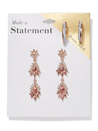 2-Piece Post & Statement Drop Earring Set - New York & Company